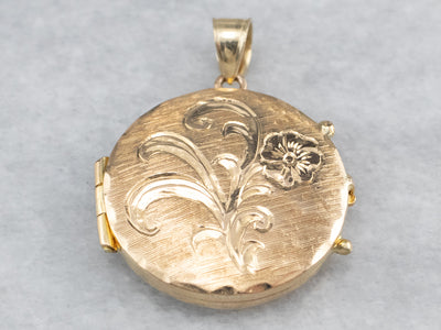 Floral Round Gold Locket Pendant