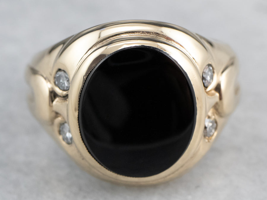 Retro Black Onyx Diamond Gold Ring