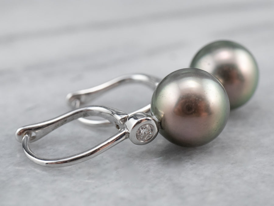 Grey Pearl Diamond White Gold Drop Earrings