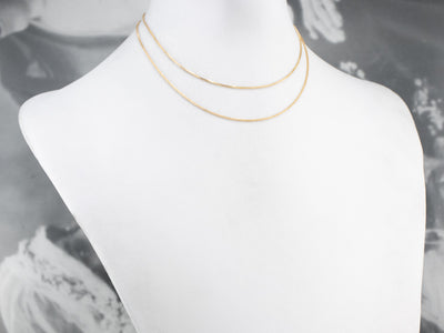 18K Gold Thin Box Chain Necklace