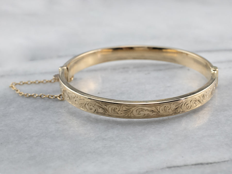 Victorian Revival Patterned Gold Bangle Bracelet