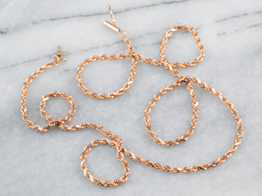 14K Rose Gold Rope Chain Necklace