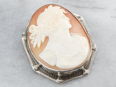 Art Deco Demeter Cameo White Gold Brooch Pendant