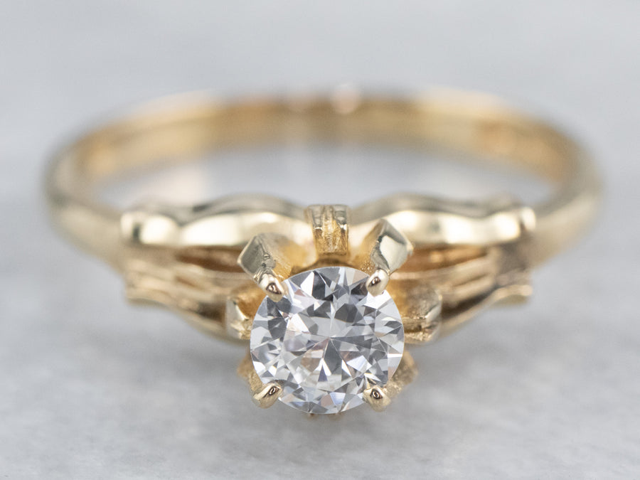 Floral Diamond Gold Solitaire Engagement Ring
