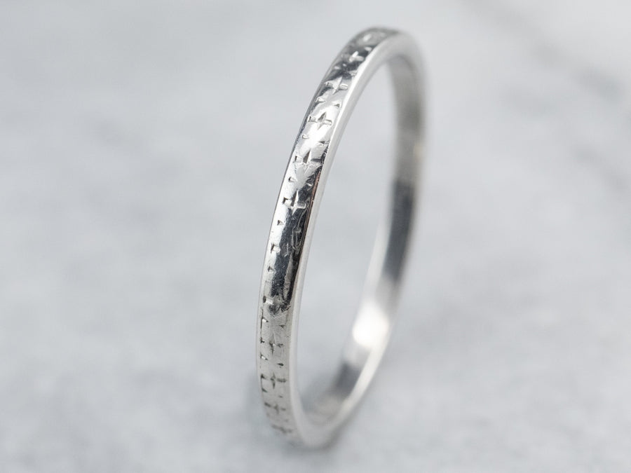 Art Deco Patterned Platinum Wedding Band
