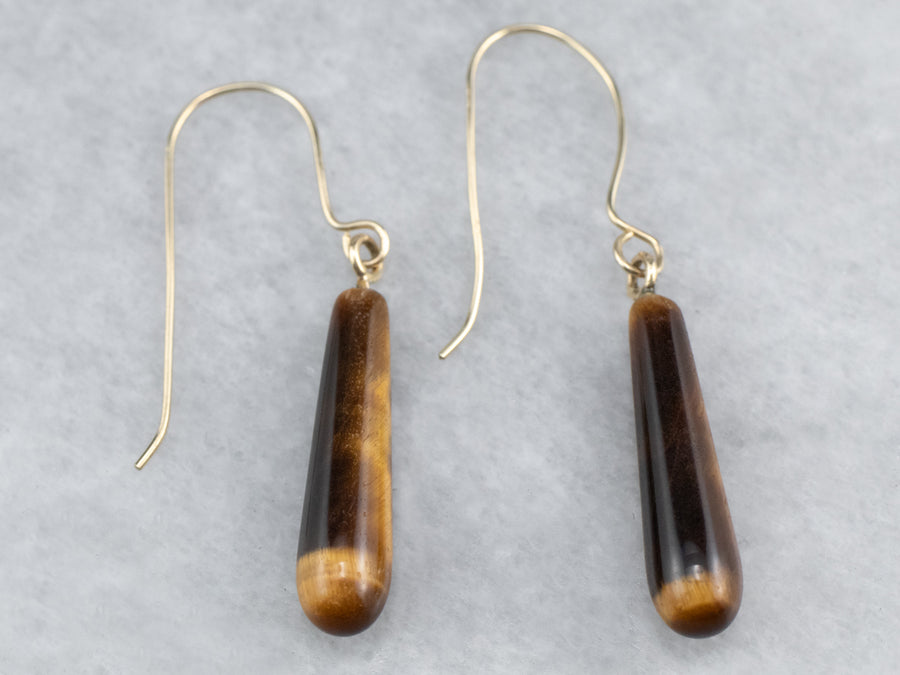 Tiger's Eye Gold Drop Earrings
