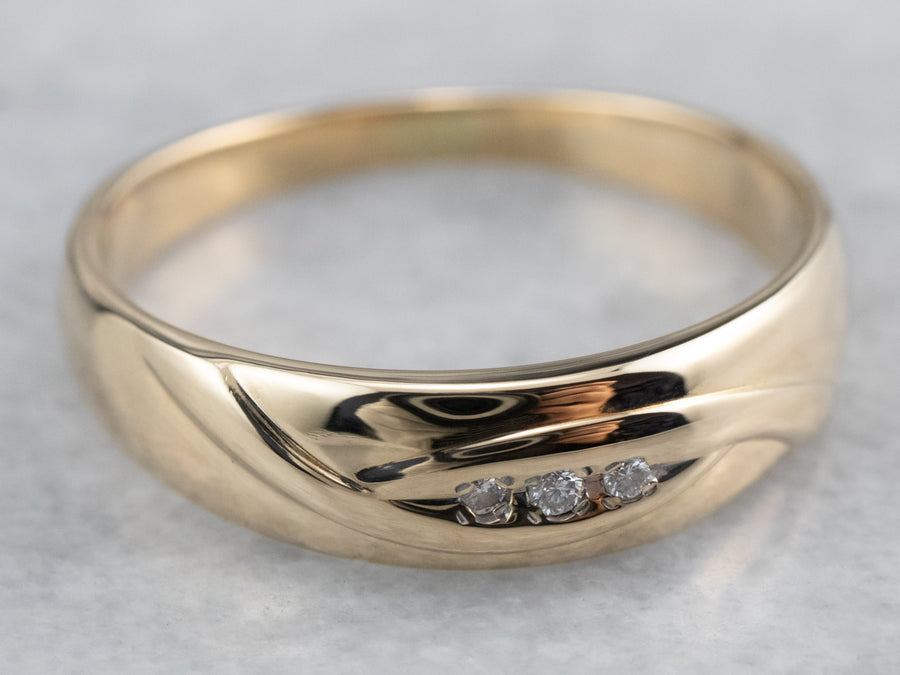Three Diamond Gold Wedding Band