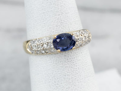 Two Tone Gold Sapphire and Diamond Ring