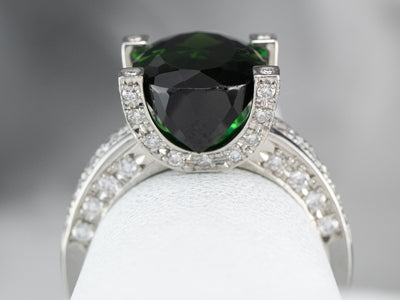 Platinum Green Tourmaline Diamond Cocktail Ring
