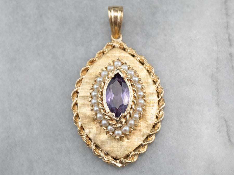 Marquise Amethyst and Pearl Gold Locket