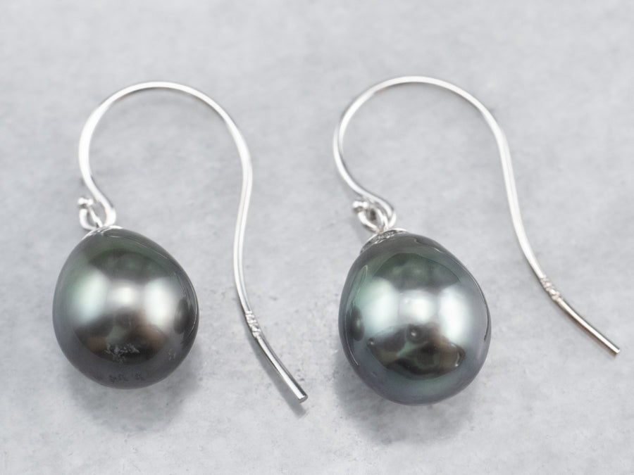 White Gold Black Pearl Drop Earrings