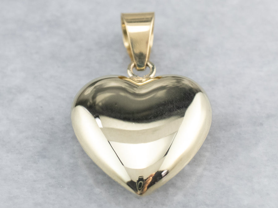 Vintage Gold Puffy Heart Pendant