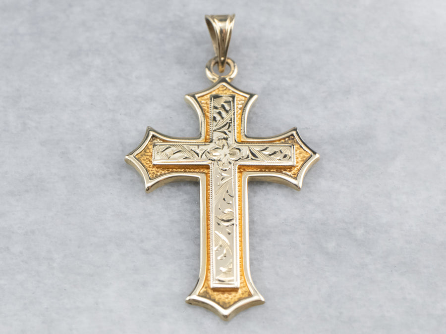 Engraved Gold Floral Cross