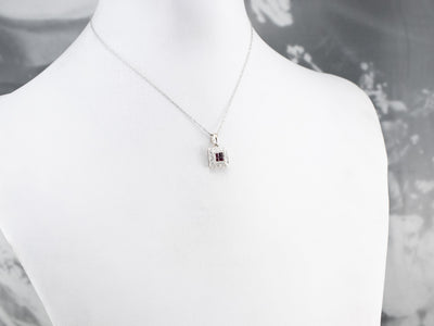 18K Gold Ruby and Diamond Halo Pendant