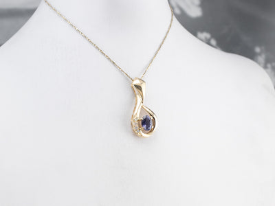 Iolite Diamond Gold Teardrop Pendant