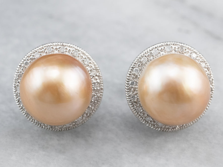 Pink Pearl Diamond Halo Stud Earrings