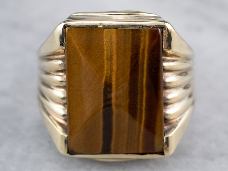 Vintage Tiger's Eye Gold Statement Ring