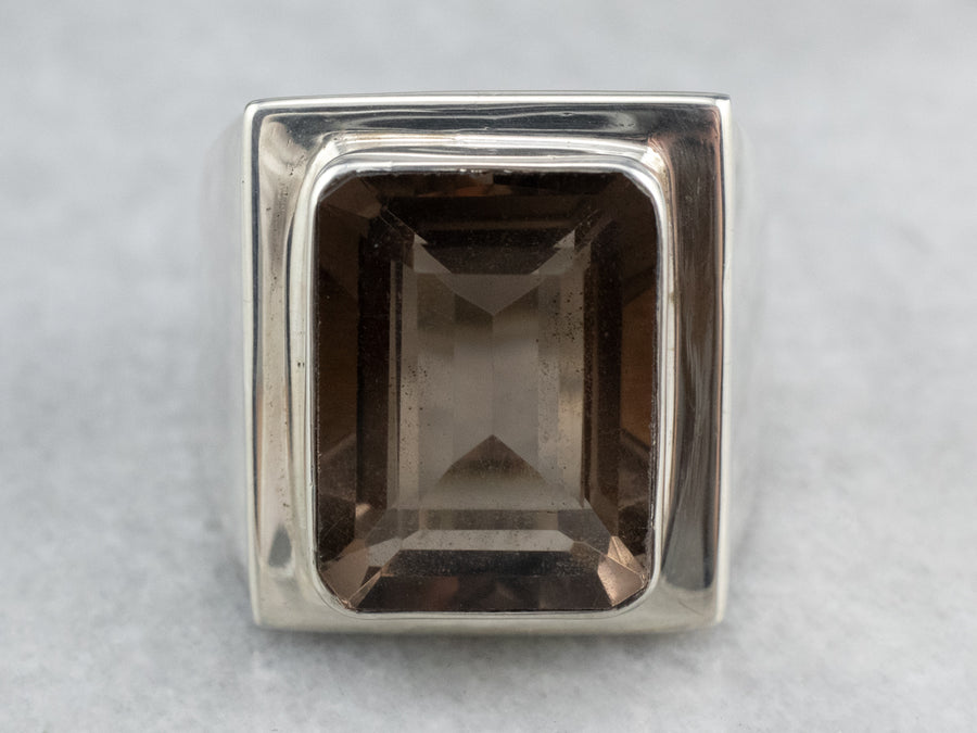 Smoky Quartz Sterling Silver Statement Ring