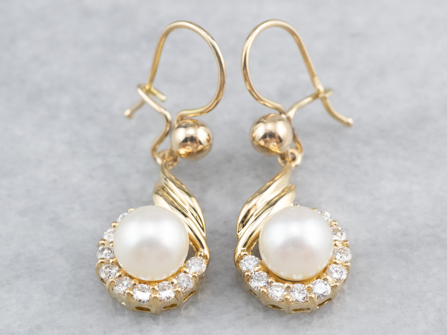 Pearl Diamond Halo Gold Drop Earrings
