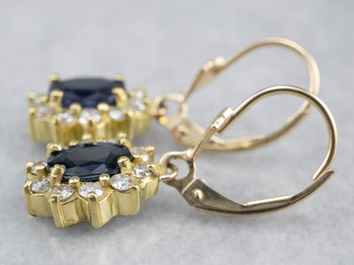 Sapphire Diamond Halo Gold Drop Earrings