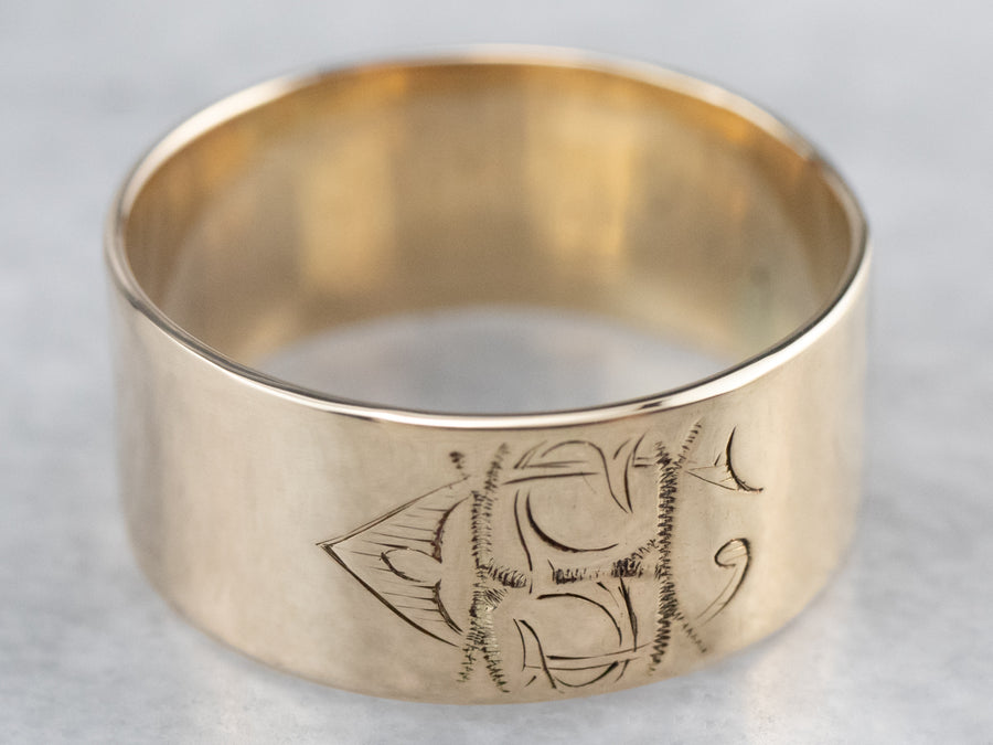Antique Monogram Gold Cigar Band Ring