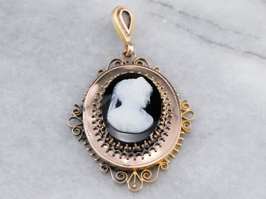 Antique Onyx Cameo Gold Pendant