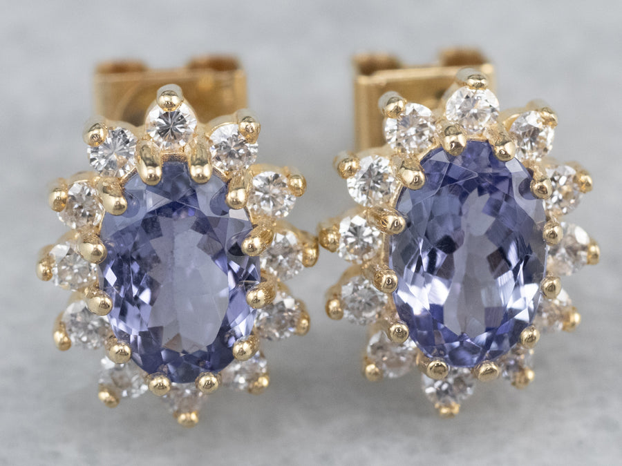 Tanzanite Diamond Halo Gold Stud Earrings