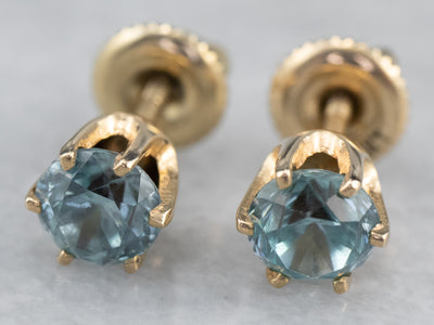 Blue Zircon Gold Screw Post Stud Earrings