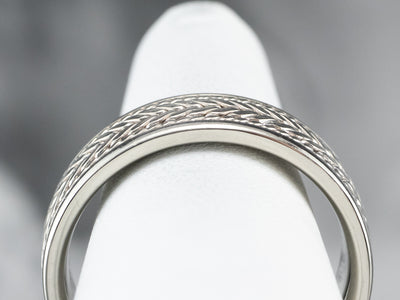 Braid Patterned White Gold Men's Band