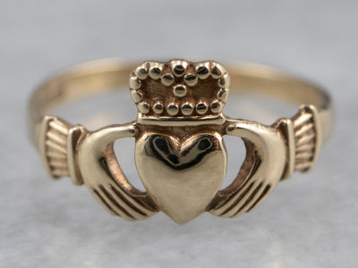 Gold Claddagh Pink Ring
