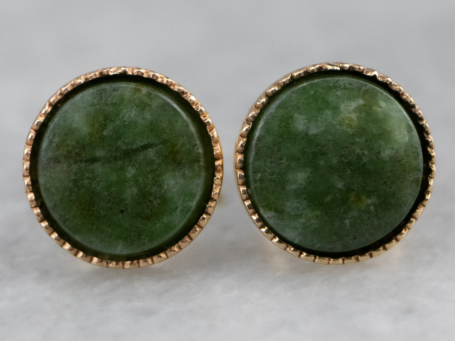 Nephrite Jade Gold Stud Earrings