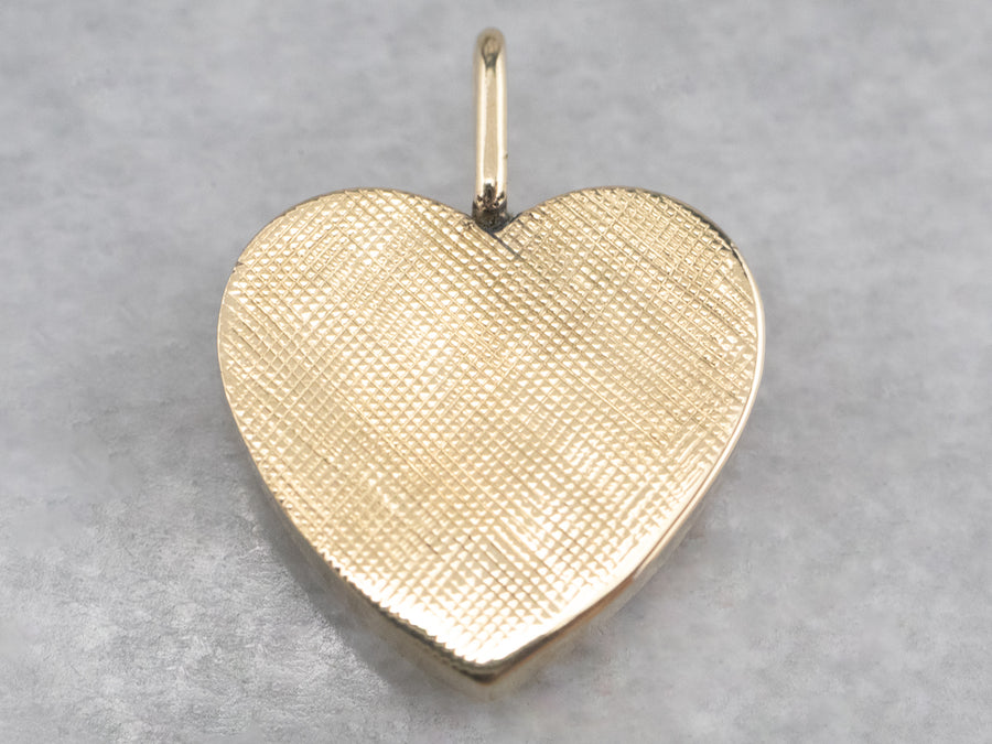 Brushed Gold Heart Pendant