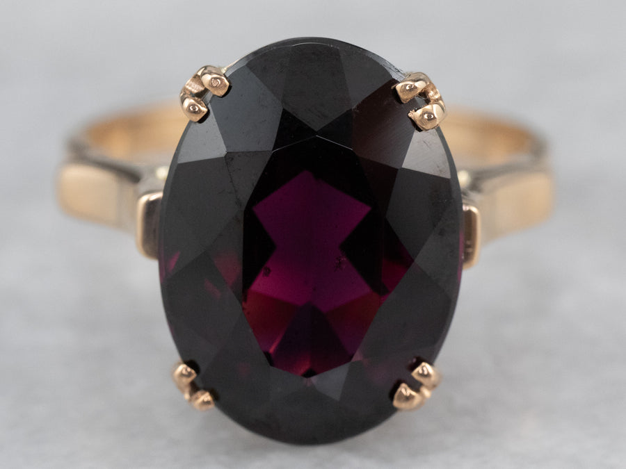 Grape Garnet Gold Statement Ring