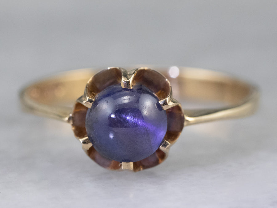 Star Sapphire Gold Buttercup Solitaire Ring