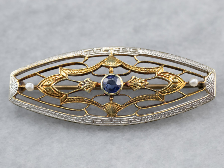 Art Deco Sapphire and Seed Pearl Brooch