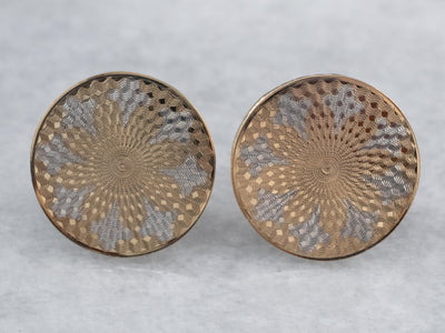Mixed Metal Etched Deco Stud Earrings