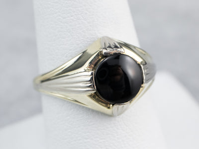 Retro Era Black Onyx Solitaire Ring