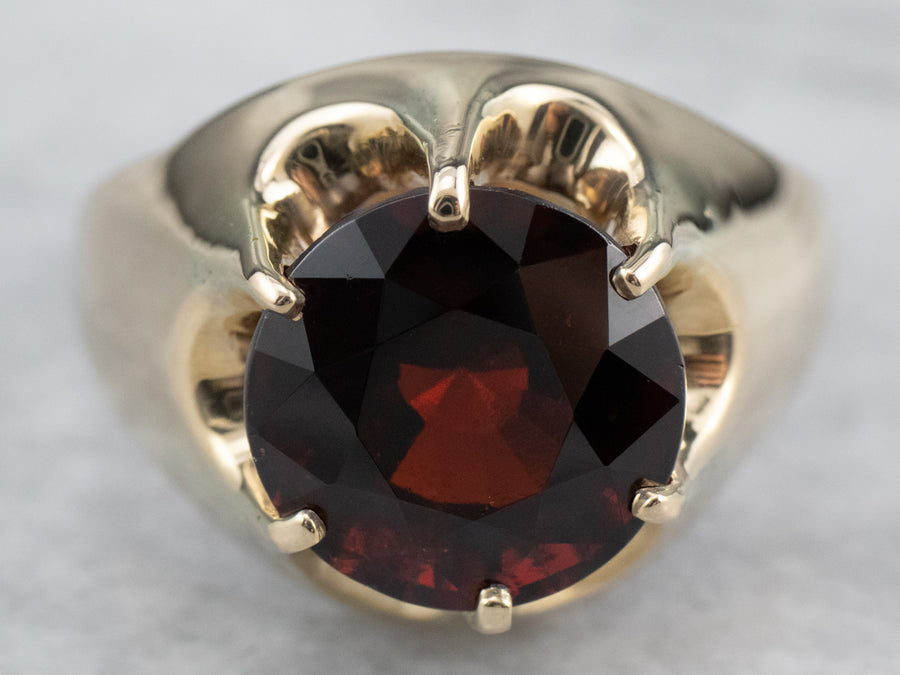 Bold Garnet Gold Cocktail Ring