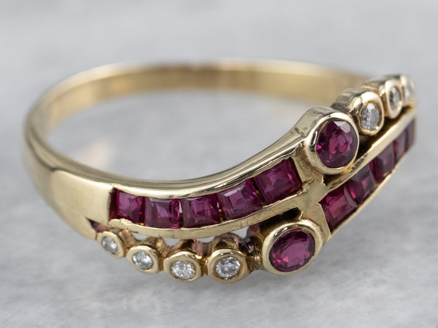 Scrolling Synthetic Ruby and Diamond Ring