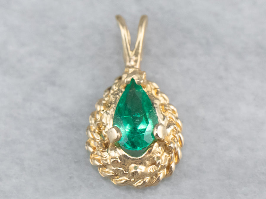 Emerald Gold Teardrop Pendant