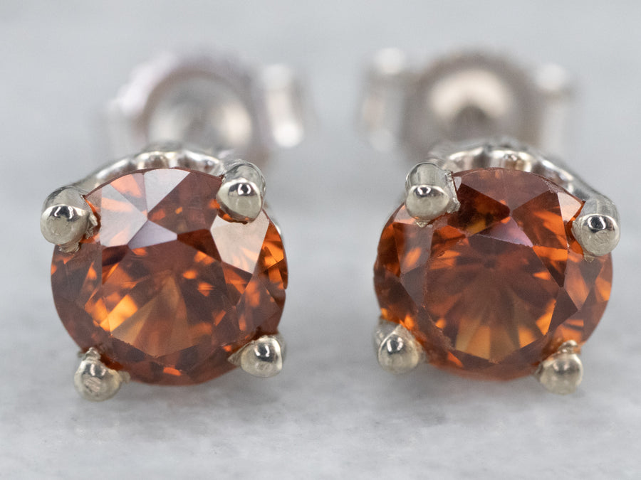 Orange Zircon White Gold Stud Earrings
