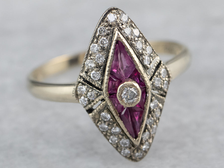 Diamond Synthetic Ruby White Gold Dinner Ring