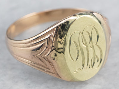 "Two Tone Gold ""DB"" Signet Ring"