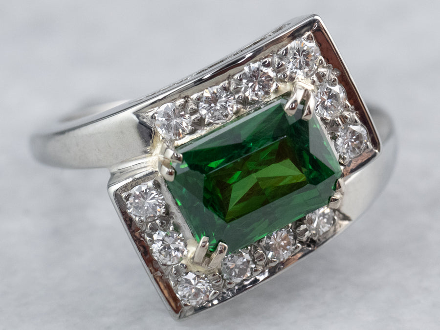 18K Gold Tsavorite Garnet and Diamond Bypass Ring