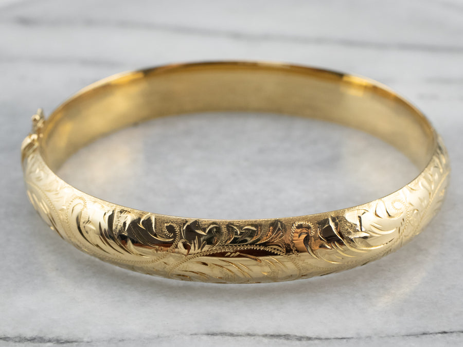 Engraved Gold Bangle Bracelet