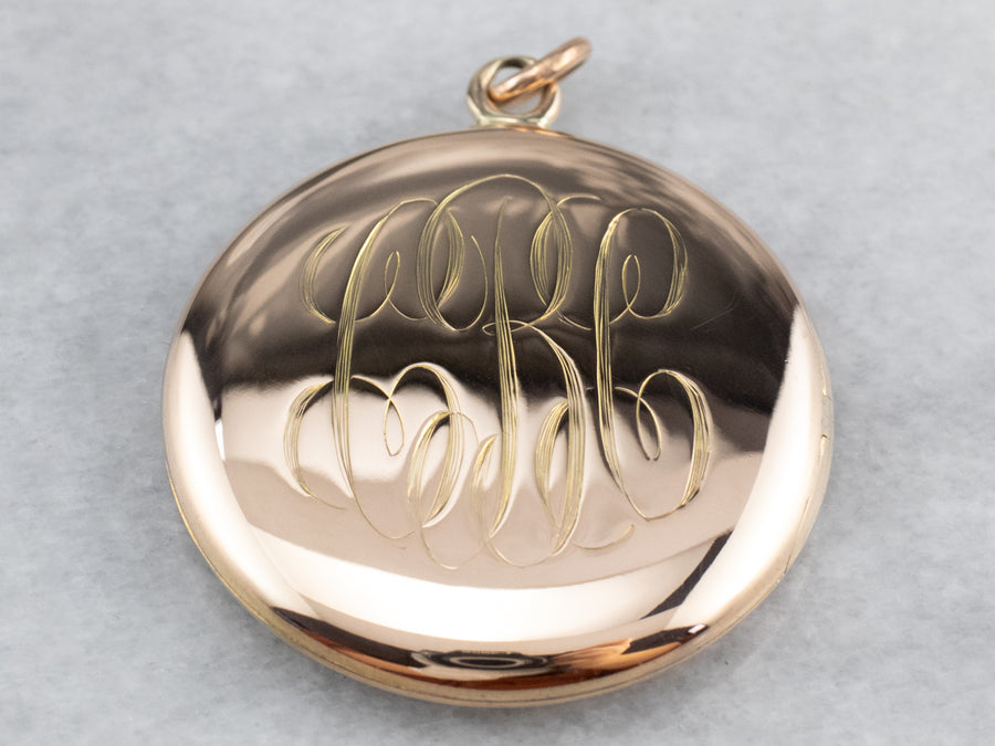 "Vintage Gold Monogrammed ""CBC"" Locket"