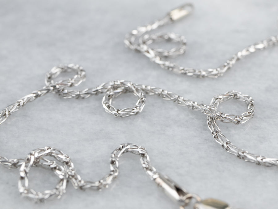White Gold Fancy Link Chain Necklace