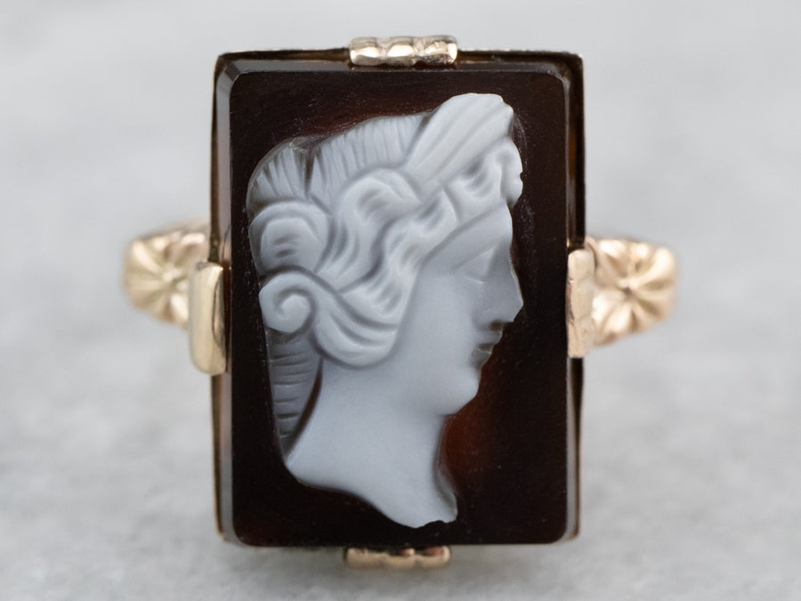 Victorian Black Onyx Cameo Ring