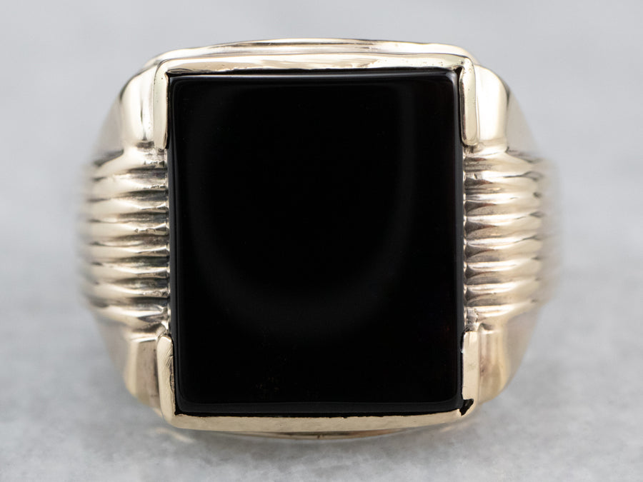 Men's Retro Black Onyx Ring