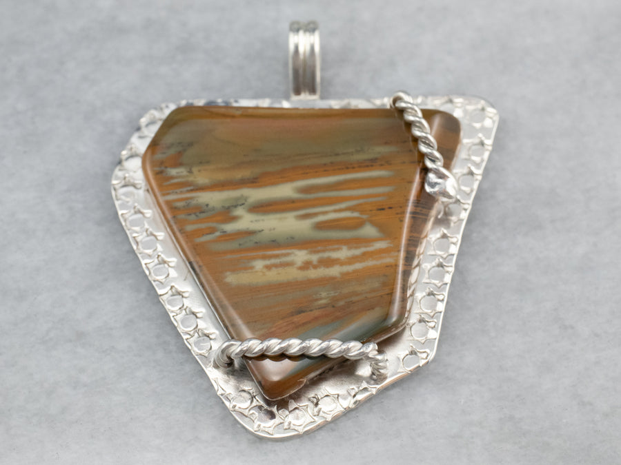 Brown Jasper Sterling Silver Statement Pendant